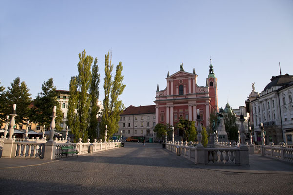 Looking across the Triple Bridge to the Church of the Annunciation | Ljubljana Old Town | Slovenia
