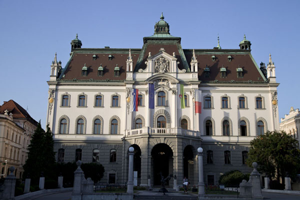Picture of Ljubljana Old Town (Slovenia): Early morning light on the University building of Ljubljana