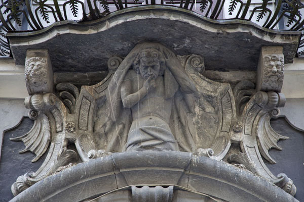 Foto di Detail of Schweiger building in Ljubljana: sculpted figures supporting a balconyLubiana - Slovenia