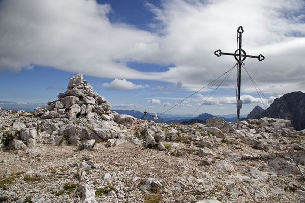 Picture of Cross on top of Brana, at 2253m high above the floor of the Logar Valley