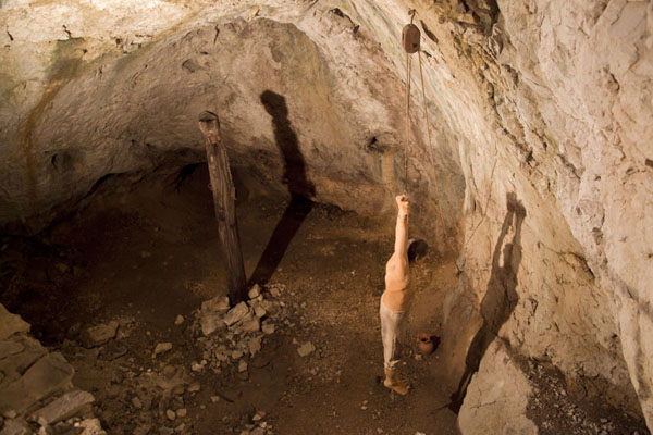Picture of Looking into the torture chamber of Predjama Castle