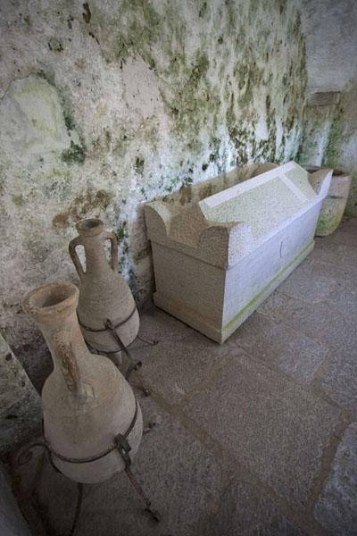 Stone jars and casket in Predjama Castle | Predjama Castle | Slovenia