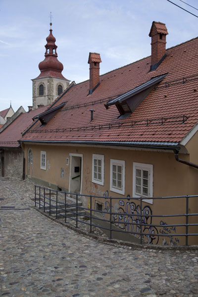 Cobble stone street in the upper part of the old town of Ptuj | Ptuj | Slovenia