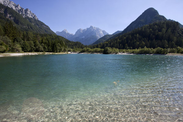 Picture of Vršič mountain pass (Slovenia): Ice-cold glacial lake just outside Kransjka Gora, on the way up to Vršič pass