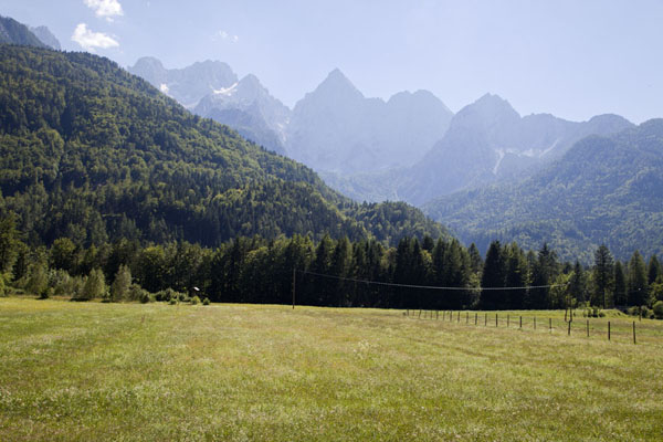 Picture of Vršič mountain pass (Slovenia): Looking towards the mountains where Vršič pass is located