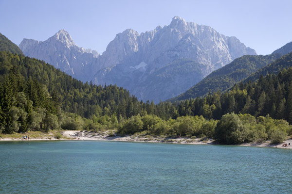 Picture of Vršič mountain pass (Slovenia): Julian Alps towering above Jasna Lake, just south of Kransjka Gora