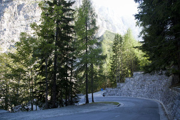 Picture of One of the numbered 48 hairpin bends on Vršič mountain pass
