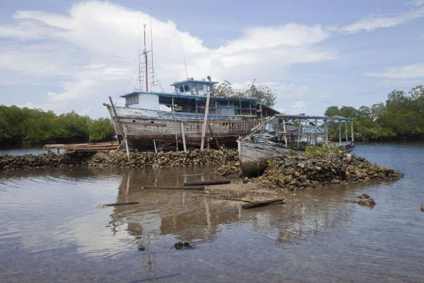 Picture of One of the many ships being built around Langa Langa lagoonTalakali - Solomon Islands