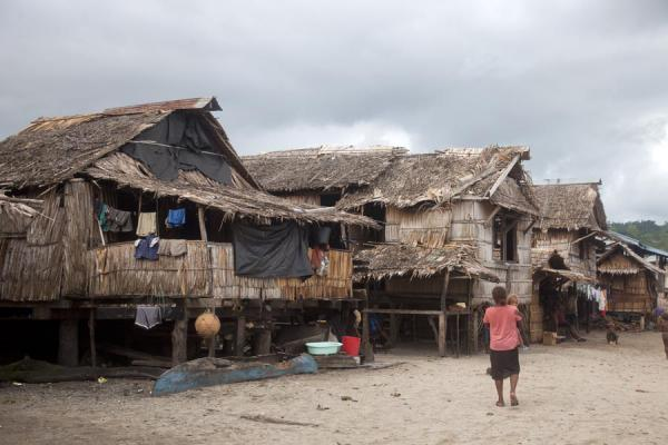 Picture of Traditional houses lining the main street of Lilisiana - Solomon Islands - Oceania