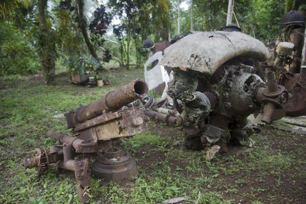 Picture of Fighter aircraft engine with a rusty Japanese cannonMunda - Solomon Islands