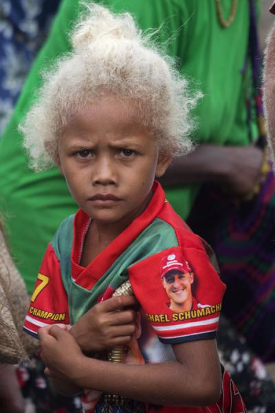 Young girl with blonde hair at the market of Auki | Solomon Island people | Solomon Islands
