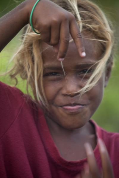 Picture of Solomon Island people (Solomon Islands): Beautiful girl from Lilisiana tying to get in the picture