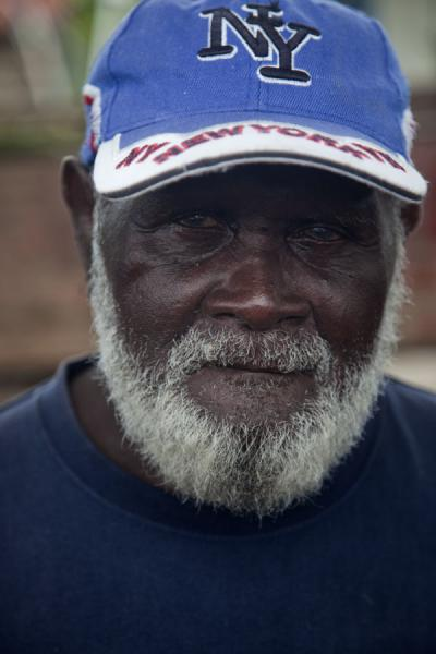 Picture of Solomon Island people (Solomon Islands): Old Solomon guy at the market of Gizo in Western Province