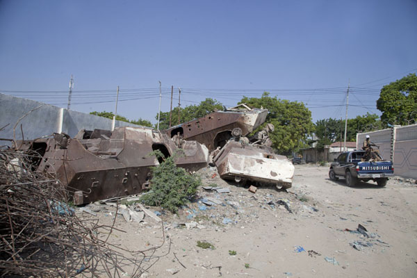 The pile of armoured personnel carriers marking the Black Hawk Down site | Black Hawk Down site | Somalia