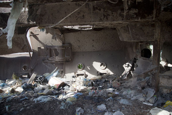 Picture of Black Hawk Down site (Somalia): Looking into one of the armoured personnel carriers