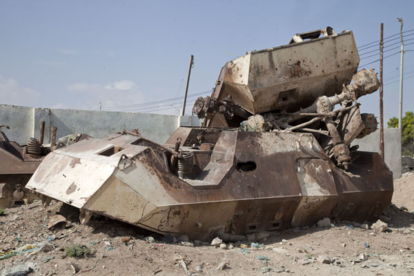 Picture of Black Hawk Down site (Somalia): Armoured personnel carriers slowly rusting away as silent reminders of the battle