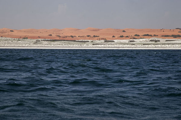 View of the beach and desert in the background from the sea - 索马利亚
