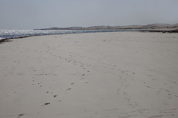 Foto van Looking south along the wide white beach of JazeeraJazeera - Somalië
