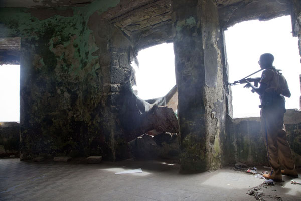 Armed guard inside the lighthouse | Mogadishu lighthouse | Somalia