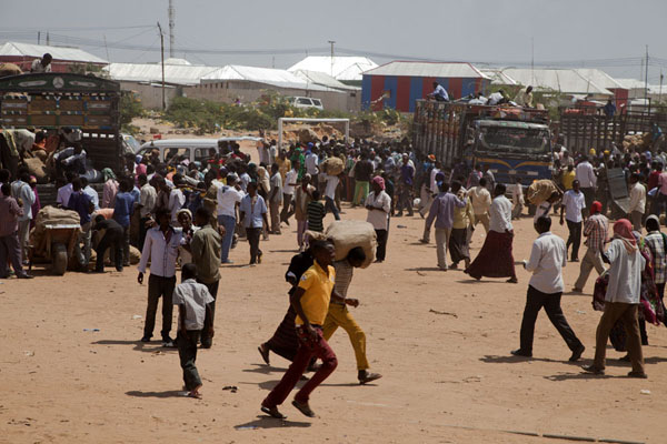 Foto van People in a rush taking qat from the trucks to the marketMogadishu - Somalië