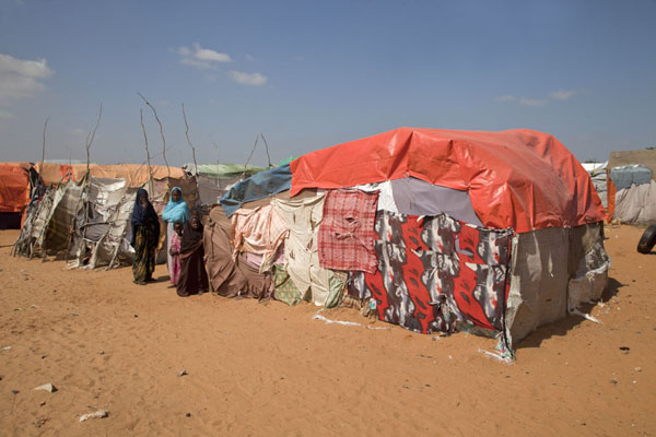 Picture of Tents in the sand: this is where refugees live for yearsMogadishu - Somalia