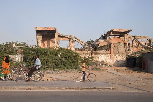 The podium on which former president Barre once used to inspect his troops | Mogadishu ruins | Somalia