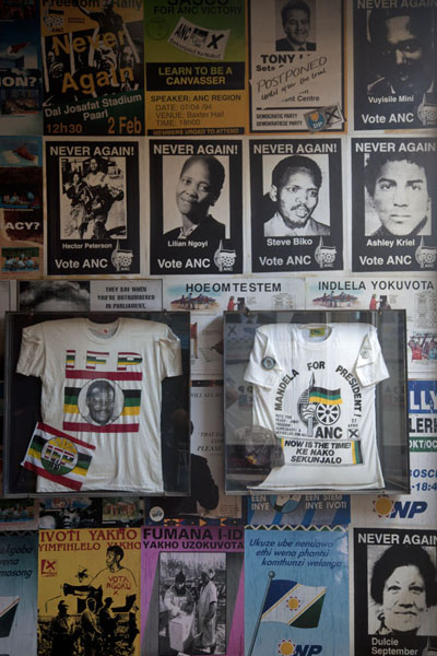Political pamphlets and T-shirts during the apartheid years | Apartheid Museum | South Africa