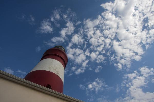 Looking up the red and white lighthouse at Cape Agulhas | Cape Agulhas | South Africa