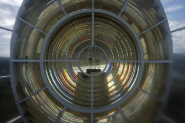 Picture of Cape Agulhas (South Africa): Close-up of the light in the lighthouse of Cape Agulhas