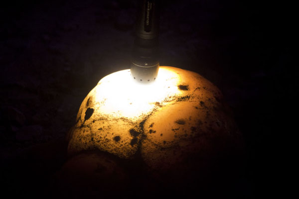 Torch placed on translucent stone inside the Sterkfontein caves | Sterkfontein Caves | South Africa