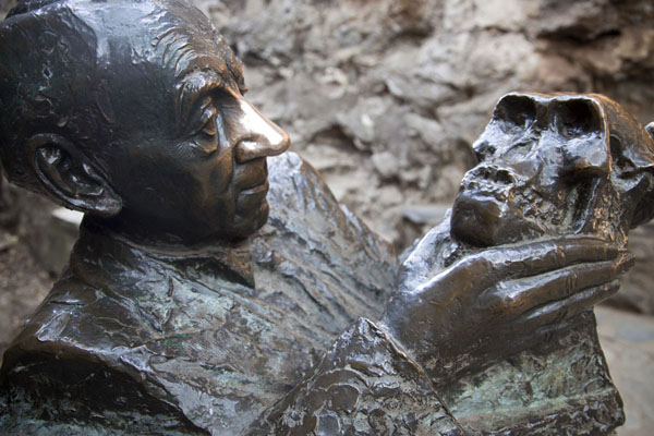 Sculpture of Dr. Broom holding Mrs. Ples | Sterkfontein Caves | South Africa