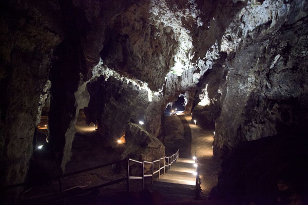 Picture of Stairs lead through the larger areas of the cavesSterkfontein - South Africa