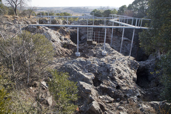 Picture of The installations on top of the caves where research is going onSterkfontein - South Africa