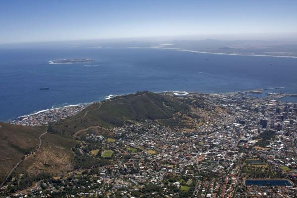 View over Cape Town: City Bowl, Signal Hill, Robben Island | Table Mountain | South Africa