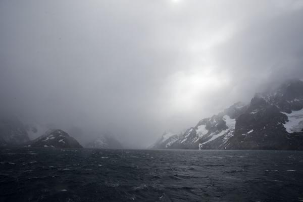 Entrance of Drygalski Fjord, covered in clouds | Drygalski Fjord | South Georgia and South Sandwich Islands