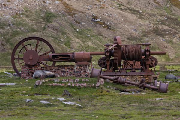 Picture of Ocean Harbour (South Georgia and South Sandwich Islands): Rusty machine is all that remains of the whaling station at Ocean Harbour