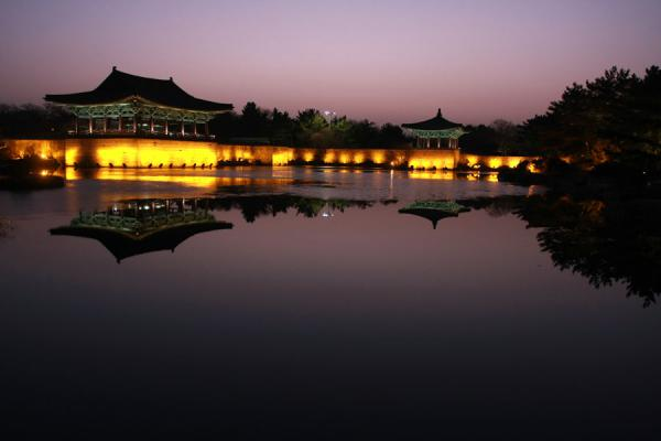 Picture of Gyeongju (South Korea): The lights of Anapji Pond are turned on as the night sets in