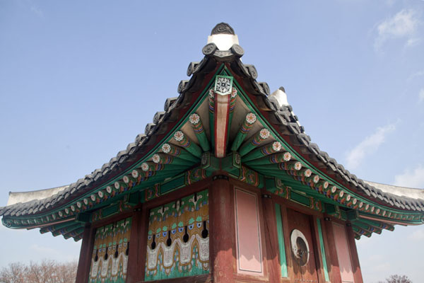 Picture of Hwaseong fortress (South Korea): Colourful Bukporu sentry post on the northern side of Hwaseong fortress