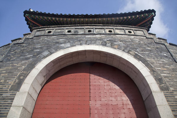 Looking up Paldalmun Gate | Hwaseong fortress | South Korea