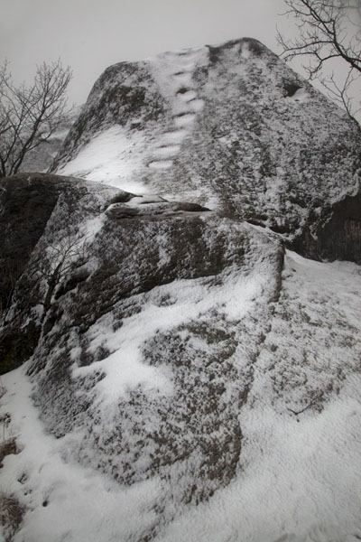 Picture of One of the rocks on Inwangsan covered in a delicate layer of snowSeoul - South Korea