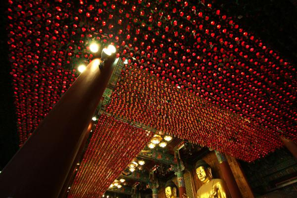 Picture of Jogyesa Temple (South Korea): Looking up inside Jogyesa temple