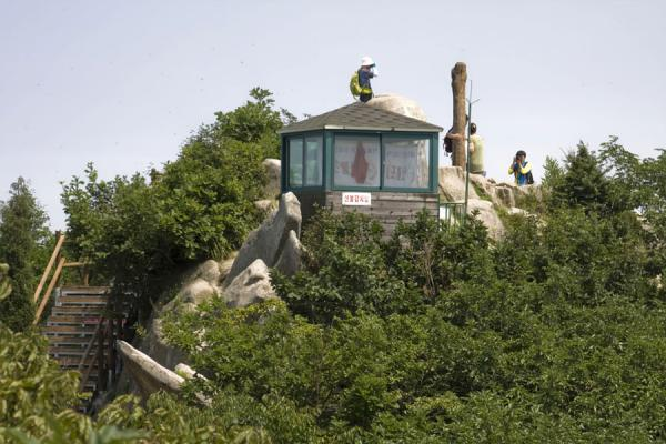 Picture of Manisan mountain (South Korea): Viewing platform from which you can see the altar of Chamseongdan on top of Manisan