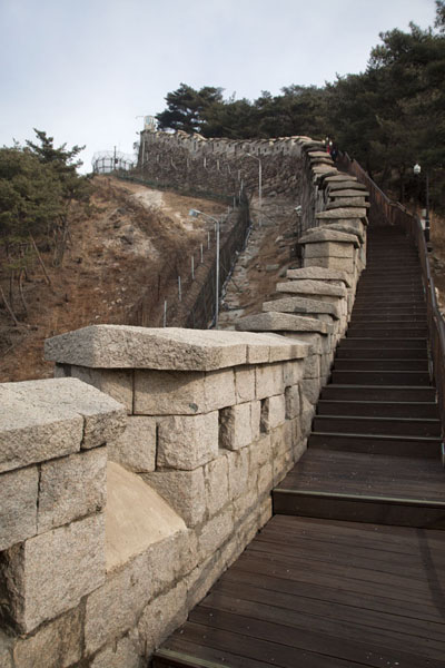 Looking up the city wall above Changuimun Gate | Mount Bugaksan City Wall | South Korea