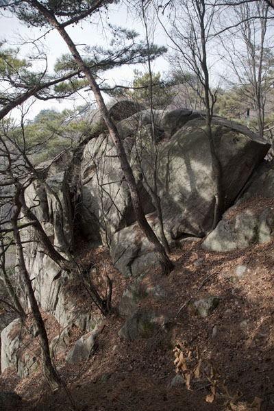 Picture of Chotdaebawi Rock, or Candlestick Rock, with a symbolic significance for Korean natioalism - South Korea - Asia