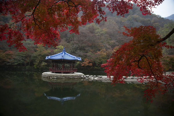 Foto van Autumn colours at Uhwajeong PavilionNaejangsan - Zuid Korea