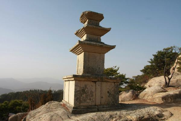 Picture of Namsan (South Korea): Three-storey stone pagoda on a rocky platform overlooking Yongjangsa valley
