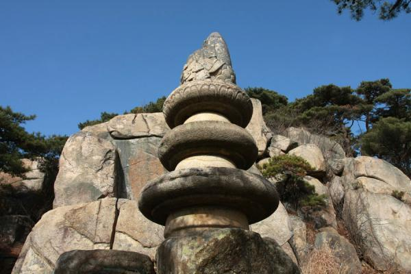 Picture of Namsan (South Korea): Buddha statue on top of three-wheeled pedestal at Yongjangsa site