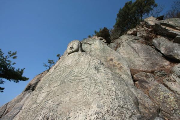 Picture of South Korea (Seated Seokgayeorae carved out of rock surface facing Geomobong mountain)