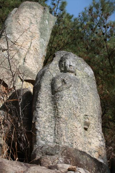 Picture of Namsan (South Korea): Image of Gwaneumbosal carved on rock surface