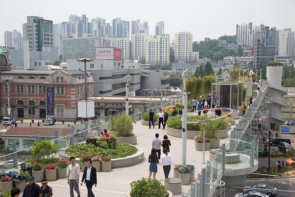 Picture of People walking where cars once drove: view over Seoullo 7017Seoul - South Korea